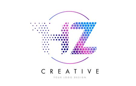 HZ H Z Pink Magenta Dotted Bubble Letter Logo Design. Dots Lettering Vector Illustration