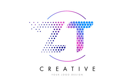 ZT ZT Pembe Eflatun Noktalı Kabarcık Harf Logo Tasarımı. Nokta Yazı Vektör İllüstrasyon Çizim