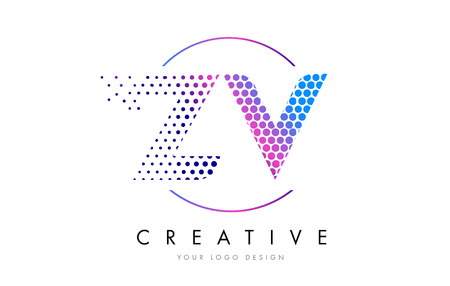 ZV Z V Pink Magenta Dotted Bubble Letter Logo Design. Dots Lettering Vector Illustration