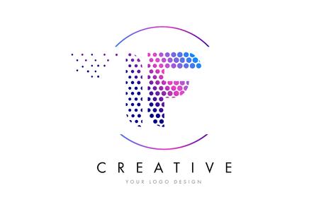 IF I F Pink Magenta Dotted Bubble Letter Logo Design. Dots Lettering Vector Illustration Çizim