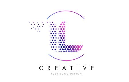 IL I L Pink Magenta Dotted Bubble Letter Logo Design. Dots Lettering Vector Illustration Stok Fotoğraf - 75848496