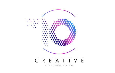 IO I O Pink Magenta Dotted Bubble Letter Logo Design. Dots Lettering Vector Illustration