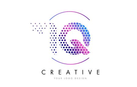 iq: IQ I Q Pink Magenta Dotted Bubble Letter Logo Design. Dots Lettering Vector Illustration Illustration