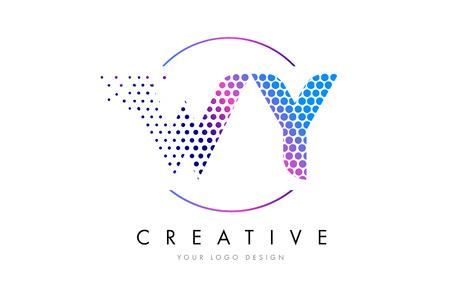 WY WY 핑크 마젠타 색 점선 로고 로고 디자인. 벡터 일러스트 레이 션 레터링 점