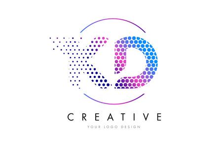 KD K D Pink Magenta Dotted Bubble Letter Logo Design. Dots Lettering Vector Illustration Logó