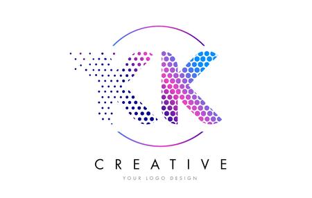 KK K K Pink Magenta Dotted Bubble Letter Logo Design. Dots Lettering Vector Illustration