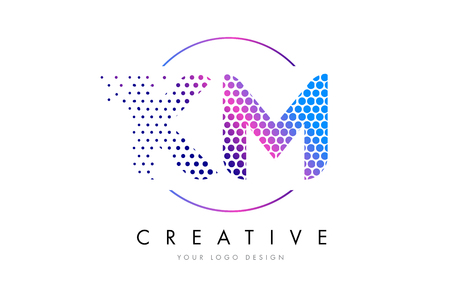 KM K M Pink Magenta Dotted Bubble Letter Logo Design. Dots Lettering Vector Illustration