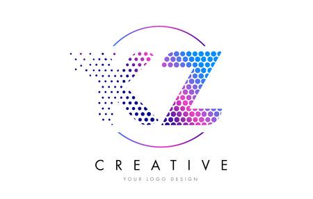 kz: KZ K Z Pink Magenta Dotted Bubble Letter Logo Design. Dots Lettering Vector Illustration Illustration