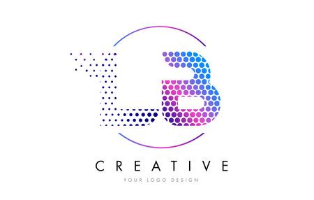 LB L B ピンク マゼンタの点線バブル文字ロゴ デザイン。ベクトル図をレタリング ドット  イラスト・ベクター素材