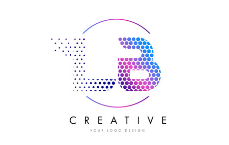 LB L B Pink Magenta Dotted Bubble Letter Logo Design. Dots Lettering Vector Illustration Imagens - 75848556
