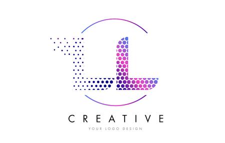 LL L Pink Magenta Dotted Bubble Letter Logo Design. Dots Lettering Vector Illustration Logó