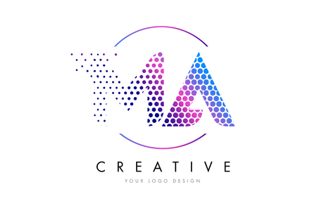 MA M A Pink Magenta Dotted Bubble Letter Logo Design. Dots Lettering Vector Illustration