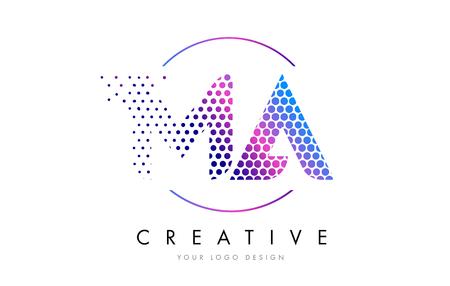 MA M A Pink Magenta Dotted Bubble Letter Logo Design. Dots Lettering Vector Illustration Illustration