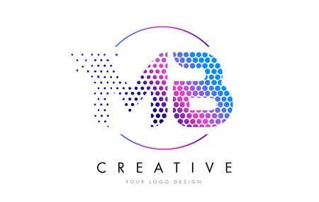 mb: MB M B Pink Magenta Dotted Bubble Letter Logo Design. Dots Lettering Vector Illustration