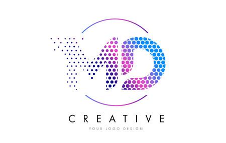 MD M D Pink Magenta Dotted Bubble Letter Logo Design. Dots Lettering Vector Illustration Illustration