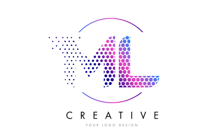 ml: ML M L Pink Magenta Dotted Bubble Letter Logo Design. Dots Lettering Vector Illustration Illustration