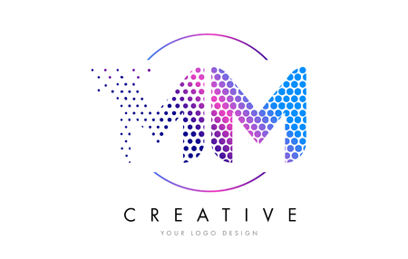 MM M M Pink Magenta Dotted Bubble Letter Logo Design. Dots Lettering Vector Illustration