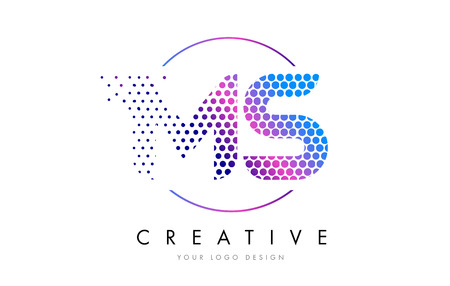 MS M S Pink Magenta Dotted Bubble Letter Logo Design. Dots Lettering Vector Illustration Illustration
