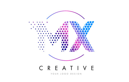 mx: MX M X Pink Magenta Dotted Bubble Letter Logo Design. Dots Lettering Vector Illustration