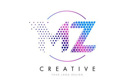 MZ M Z Pink Magenta Dotted Bubble Letter Logo Design. Dots Lettering Vector Illustration Logó