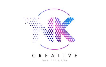 NK N K Pink Magenta Dotted Bubble Letter Logo Design. Dots Lettering Vector Illustration