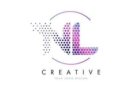nl: NL N L Pink Magenta Dotted Bubble Letter Logo Design. Dots Lettering Vector Illustration Illustration