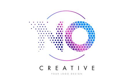 NO N O Pink Magenta Dotted Bubble Letter Logo Design. Dots Lettering Vector Illustration