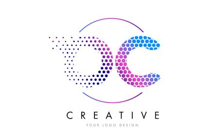 OC O C Pink Magenta Dotted Bubble Letter Logo Design. Dots Lettering Vector Illustration