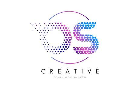 OS O S Pink Magenta Dotted Bubble Letter Logo Design. Dots Lettering Vector Illustration Illustration