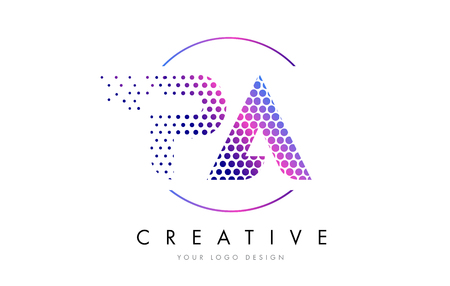 PA P A Pink Magenta Dotted Bubble Letter Logo Design. Dots Lettering Vector Illustration