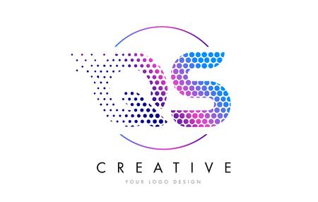 qs: QS Q S Pink Magenta Dotted Bubble Letter Logo Design. Dots Lettering Vector Illustration
