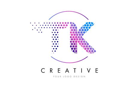 TK T K Pink Magenta Dotted Bubble Letter Logo Design. Dots Lettering Vector Illustration