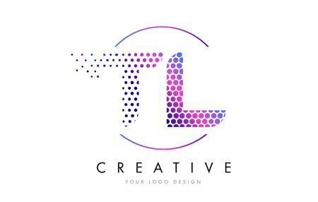 TL T L Pink Magenta Dotted Bubble Letter Logo Design. Dots Lettering Vector Illustration Logó