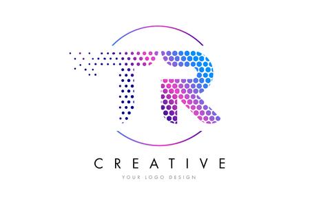 TR T R Pink Magenta Dotted Bubble Letter Logo Design. Dots Lettering Vector Illustration