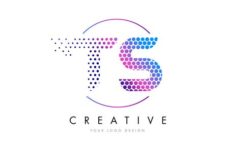 TS T S Pink Magenta Dotted Bubble Letter Logo Design. Dots Lettering Vector Illustration Logó