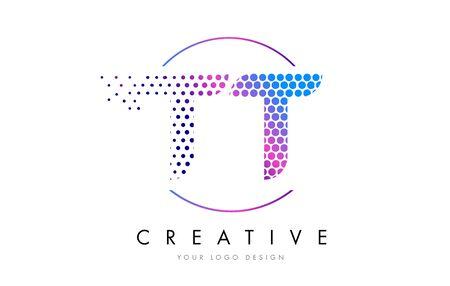 TT T Pink Magenta Dotted Bubble Letter Logo Design. Dots Lettering Vector Illustration