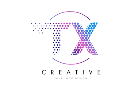 tx: TX T X Pink Magenta Dotted Bubble Letter Logo Design. Dots Lettering Vector Illustration Illustration