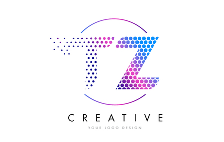 TZ T Z Pink Magenta Dotted Bubble Letter Logo Design. Dots Lettering Vector Illustration