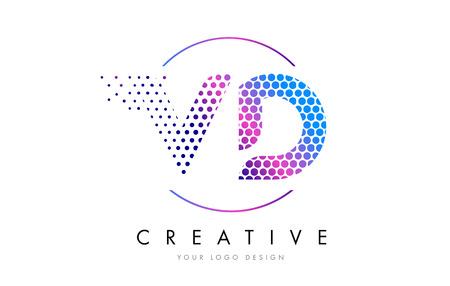 VD V D Pink Magenta Dotted Bubble Letter Logo Design. Dots Lettering Vector Illustration Logó