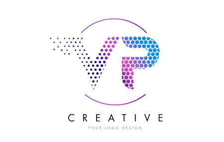 VP V P Pink Magenta Dotted Bubble Letter Logo Design. Dots Lettering Vector Illustration