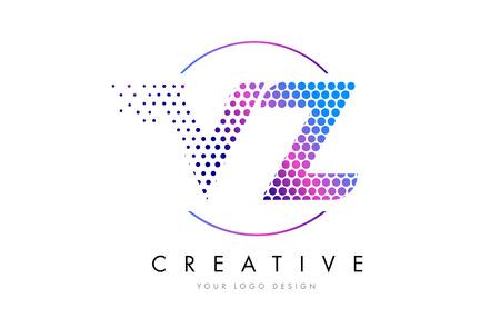 VZ V Z Pink Magenta Dotted Bubble Letter Logo Design. Dots Lettering Vector Illustration