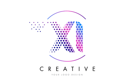 XI X I Pink Magenta Dotted Bubble Letter Logo Design. Dots Lettering Vector Illustration