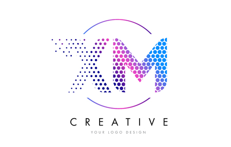 xm: XM X M Pink Magenta Dotted Bubble Letter Logo Design. Dots Lettering Vector Illustration