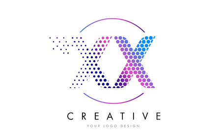 XX X X Pink Magenta Dotted Bubble Letter Logo Design. Dots Lettering Vector Illustration Illustration