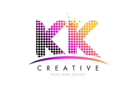 KK K K Dots Letter Logo Design with Magenta Bubble Circles and Swoosh