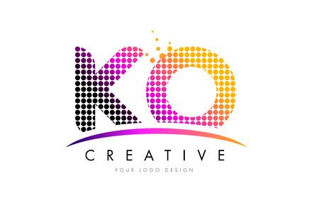 KO K O Dots Letter Logo Design with Magenta Bubble Circles and Swoosh Logo
