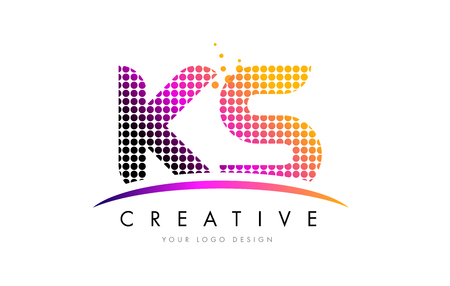 KS K S Dots Letter Logo Design with Magenta Bubble Circles and Swoosh