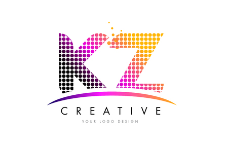 kz: KZ K Z Dots Letter Logo Design with Magenta Bubble Circles and Swoosh