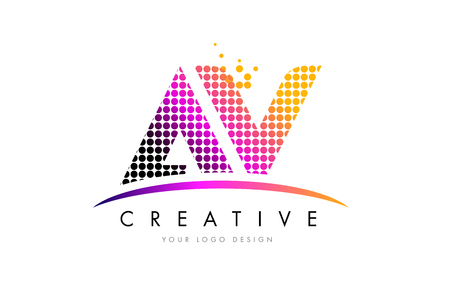 AV A V Dots Letter Logo Design with Magenta Bubble Circles and Swoosh