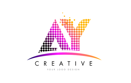 AY A Y Dots Letter Logo Design with Magenta Bubble Circles and Swoosh